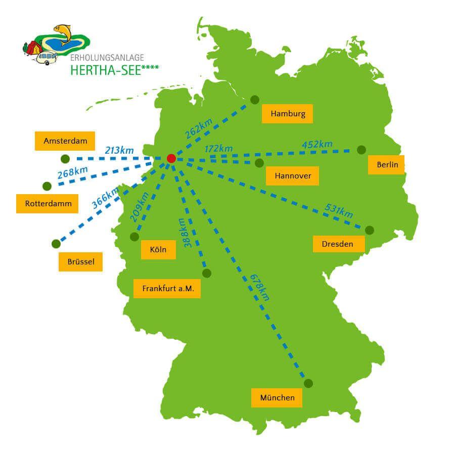 Anreisekarte der einiger Städte und Hauptstädte.