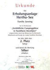 Auszeichnung - Urkunde Campingplatz Westfalen 2 Platz